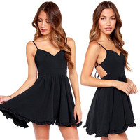 Casual Black Spaghetti Strap Backless Flounce Edge Mini Skater