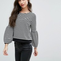 Boohoo Petite Striped Balloon Sleeve Top at asos.com