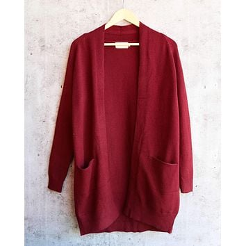 Dreamers - Cozy Open Cardigan in Burgundy