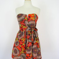 Mustard Seed x Love Culture Fit & Flare Feather Print Mini Dress NWT S