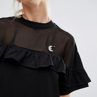 Lazy Oaf Oversized T-Shirt With Sheer Insert And Frill at asos.com