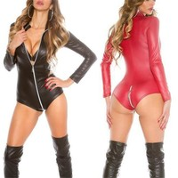 Porn Sex Underwear Sexy Teddy Babydoll Hot PU Leather Latex Baby Doll Erotic Lingerie Pole Dance Club Costumes Zipper Mini Dress