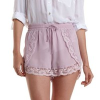 Lavender Lace & Chiffon High-Waisted Shorts by Charlotte Russe