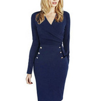 Blue V-neck Long Sleeve Bodycon Pencil Midi Dress