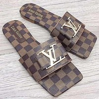 Louis Vuitton Slippers LV Shoes Women Fashion Sandals Metal Big Logo Square sole Coffee Tartan
