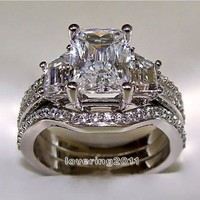 10KT White Gold Princess Cut 5 ct Stone 5A Zircon Stone 3-in-1 Wedding Ring Set