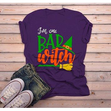 Men's Funny Halloween T Shirt I'm One Bad Witch Tee Hat Broom Witches Shirts