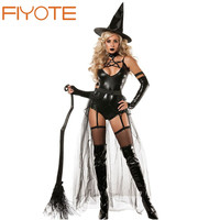 FIYOTE Hot Adult 4pcs Miss Witchcraft Costume LC8940 Cosplay Deluxe Adult Magic Moment Costume Adult Witch Halloween Fancy Dress