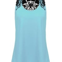 Casual Lace Crochet Embroidered Patchwork Sleeveless Tops For Women