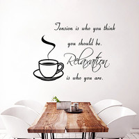 Tea Wall Decal Quote Coffee Cup Stickers Vinyl Decal Art Mural Sweet Home Decor Cafe Interior Design Kitchen Sticker Living Room Decor KI102