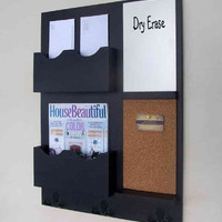 Message Center - Mail Organizer - Cork - White Board - Key Hooks