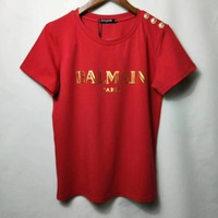 """BALMAIN"" Women Casual Fashion Letter Logo Print Short Sleeve Round Neck T-shirt Tops"