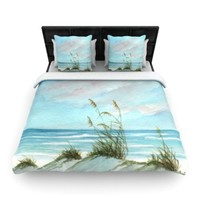 Kess InHouse 68 by 88-Inch Rosie Brown Sea Oats Duvet Cover, Twin