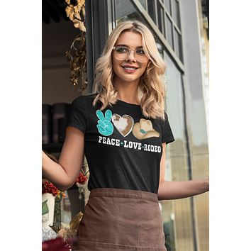 Women's Peace Love Rodeo Shirt Cowboy Hat T Shirt Rodeo Wild West Graphic Western Tee Turquoise Ladies V-Neck Soft Tee