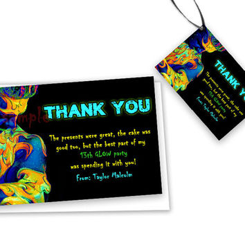 GLOW Party Thank You Card - Boys Glow Dance Birthday Party Thank You Tags - Party Favor Tags - Thank You Cards - Neon Printable Printed