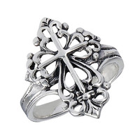 Unique Sterling Silver Cross Ring