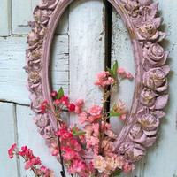 Large picture frame pink ornate with roses vintage shabby chic oval distressed wall decor Anita Spero