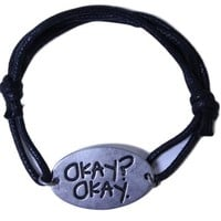 """Licensed The Fault In Our Stars Cord and Pewter Adjustable """"Okay?Okay."""" Bracelet"""