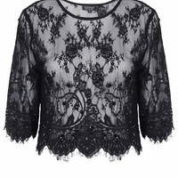 Lace Embellished Crop Tee