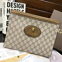GUCCI GG new product stitching color tiger logo men's and women's cosmetic bag clutch Bag