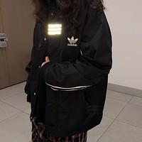 ADIDAS 2019 new casual sports men and women hooded jacket Black
