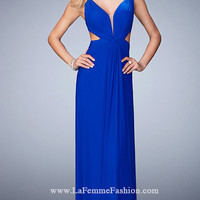V-Neck La Femme Prom Dress with Cut Outs