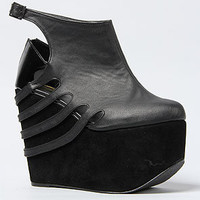 The Freya Bootie in Black and Black Patent