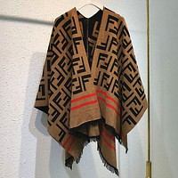 FENDI Popular Women Casual F Letter Jacquard Temperamental Cloak Cape Type Knit Coat Shawl Coffee