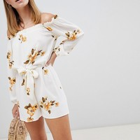 Miss Selfridge Petite off the shoulder romper with tie waist in floral print at asos.com