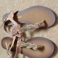 Nude Blush Pink Diamante Strap Sandals Size 4 from BOBBY18
