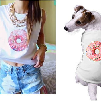 Donut Muscle Tee and Pineapple Crop Top / Matching Pet Shirt