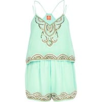 Light green Pacha embellished playsuit