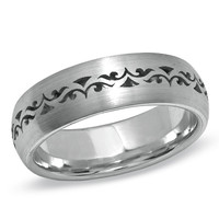 Men's 7.0mm Stained Glass Pattern Wedding Band in 14K White Gold - Peoples Jewellers Men's 7.0mm Stained Glass Pattern Wedding Band in 14K White Gold - - View All Rings - Peoples Jewellers