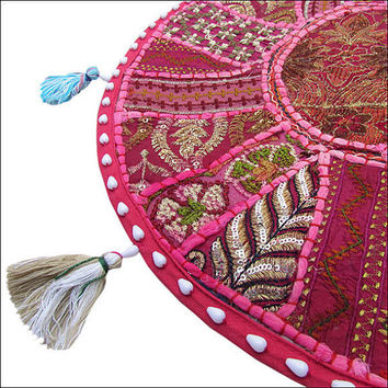 """17"""" Round pouf ottoman Floor Pillow Cushion in Pink round embroidered patchwork Bohemian floor cushion pouf Indian Foot Stool Bean Bag"""