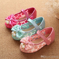 New Fashion Shoes 2015 Girls Sandals Faux Leather Mesh Breathable Summer Big Bowknot Kids Girl's Sandals Shoes Size 26-30 VY0012salebags