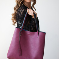 Street Level Reversible Tote - Navy/Burgundy