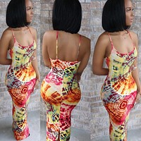 New style hot sale women's personalized slit print sling dress for women