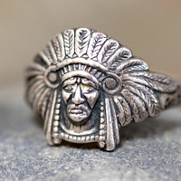 Boho Ring Indian Chief Sterling Silver Vintage