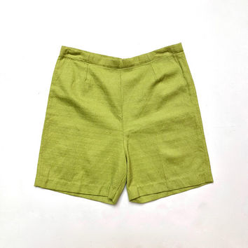 Vintage 1960s high waisted, chartreuse, textured cotton shorts with centre back zip