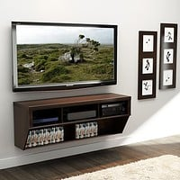 Espresso 58-inch Wide Wall Mounted AV Console TV Stand
