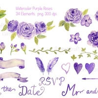 Wedding Clipart - Watercolor Purple Roses collection printable instant download (set13)