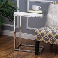 Flynn Side Table With Rivet - Mirror - Christopher Knight Home