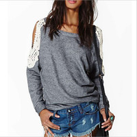 Women Off Shoulder Long Sleeve Loose Lace Blouse Tops