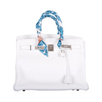 HOT! HERMES BIRKIN BAG 35cm WHITE CLEMENNCE LEATHER STUNNING