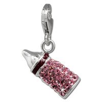 SilberDream Glitter Charm baby bottle with pink Czech crystals, 925 Sterling Silver Charms Pendant with Lobster Clasp for Charms Bracelet, Necklace or Earring GSC555A