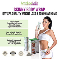 Brazilian Skinny Body Wrap Kit - Lose Belly Fat Fast, Reduce Cellulite, Eczema & Stretchmarks. No-Mess Formula for Stomach, Arms, & Thighs. 15 Day Supply (Slimming Cream + Belly Band) + Free Diet Plan