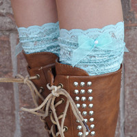 Lace Boot Cuffs - Faux Lace Boot Socks - Faux Lace Leg Warmers - Lace Boot Topper - Boot Topper - Faux Knee High Sock - Womens - Mint