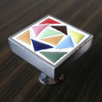 Dresser Drawer Knobs / Kitchen Cabinet Knobs Colorful Mosaic Square / Drawer Pull Handles Red Yellow Green Purple Pink Orange Blue A64
