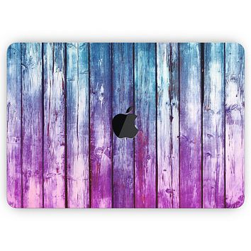 """Pink & Blue Dyed Wood - Skin Decal Wrap Kit Compatible with the Apple MacBook Pro, Pro with Touch Bar or Air (11"""", 12"""", 13"""", 15"""" & 16"""" - All Versions Available)"""