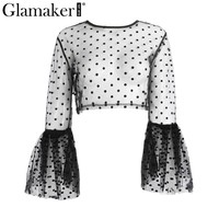 Glamaker polka dot transparent mesh top tees Sexy flare sleeve summer crop top Women casual streetwear party blouse shirt tops